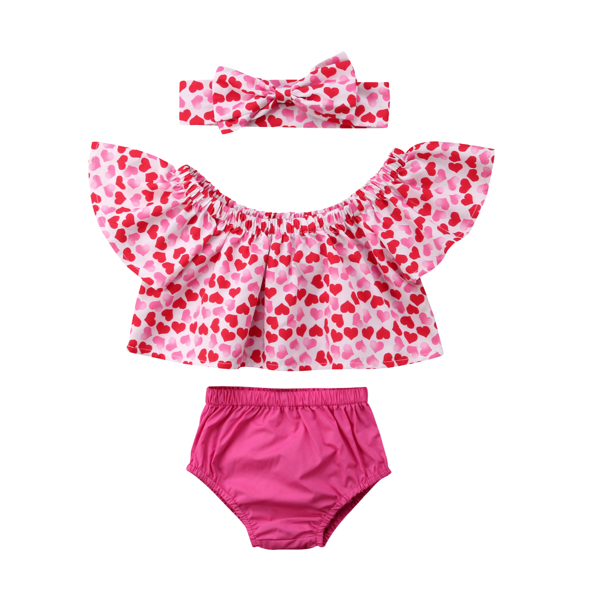 3Pcs Girl Clothes Summer Flower Toddler Baby Girl Off Shoulder Pink Heart Tops Shorts Headband Outfit 0-24M