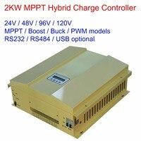 2000 واط/2kw 24 فولت/48 فولت/96 فولت/120 فولت mppt/السائبة/دفعة/pwm lcd الرياح الشمسية (600 واط) الهجين تحكم تهمة منظم مع rs232