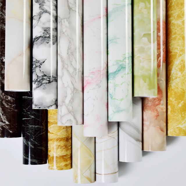 Marble Self adhesive Wallpaper Waterproof Bathroom Contact Paper Countertop Kitchen Oil proof Wall Sticker Toilets Tile Stickers