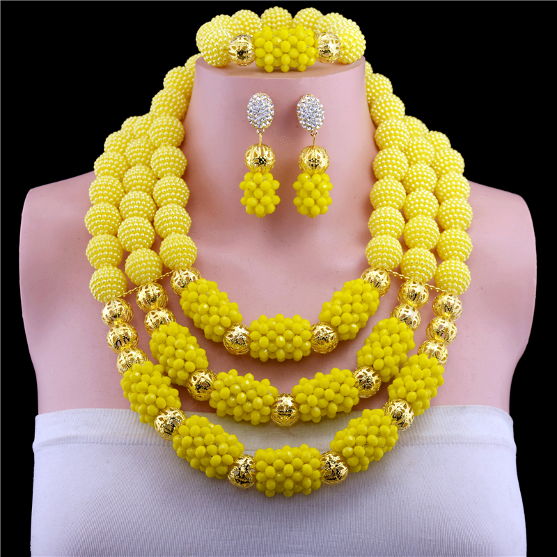 Fantastic Wedding Crystal Beads Yellow Jewelry Sets for African Women Bridal Indian Dubai Gold-color Statement Necklace SetFantastic Wedding Crystal Beads Yellow Jewelry Sets for African Women Bridal Indian Dubai Gold-color Statement Necklace Set