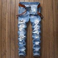 Brand Designer Men Ripped Jeans Pants Fit Slim Blue Denim Joggers Man Distressed Destroyed Pants Button