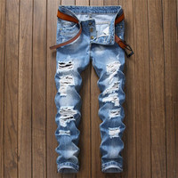 Brand Designer Men Ripped Jeans Pants Fit Slim Blue Denim Joggers Man Distressed Destroyed Pants Button
