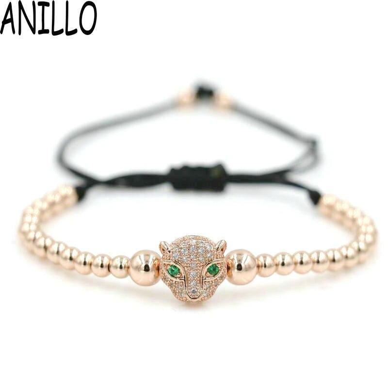ANILLO Men Women Leopard Head Charm Bracelets Micro Pave Setting White CZ 4mm Copper Beads Braiding Macrame Adjustable Jewelry