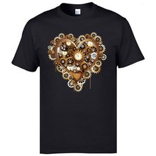 2019 New Arrival Fashion Round Collar Tee Shirts Steampunk Heart Love Clock Modern Tshirts Printing Awesome T For Men