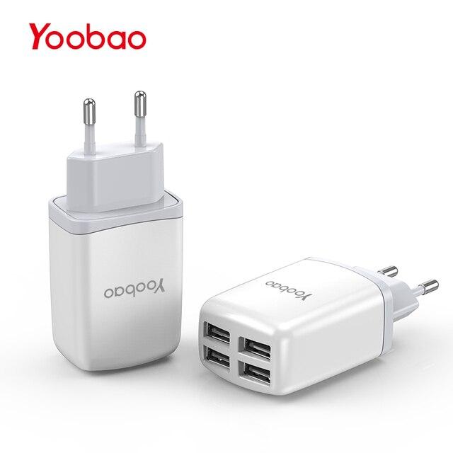 Yoobao мобильный телефон Зарядное устройство USB 4 Европейская вилка адаптер 2.1a Быстрая зарядка для iPhone 7 6 5 для Samsung для xiao Mi для Mi Huawei