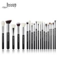 Jessup Black/Silver Professional Makeup Brushes Set Make up Brush Tools kit Foundation Powder Brushes natural synthetic hair