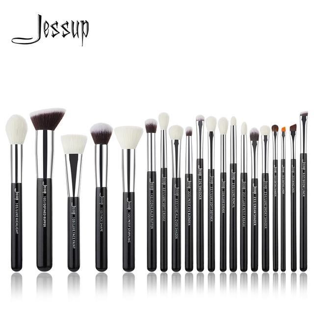 Jessup czarny/srebrny profesjonalne pędzle do makijażu zestaw do makijażu pędzle zestaw fundacja pędzle do pudru naturalne włosy syntetyczne