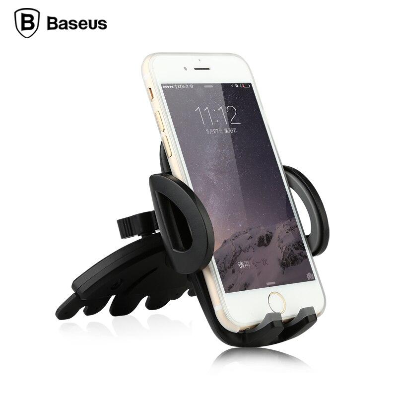Цена за Baseus универсальный cd порт гору автомобильный держатель телефона для iphone 5 6 7 samsung мобильный телефон стенд держатель 360 градусов регулируемый кронштейн
