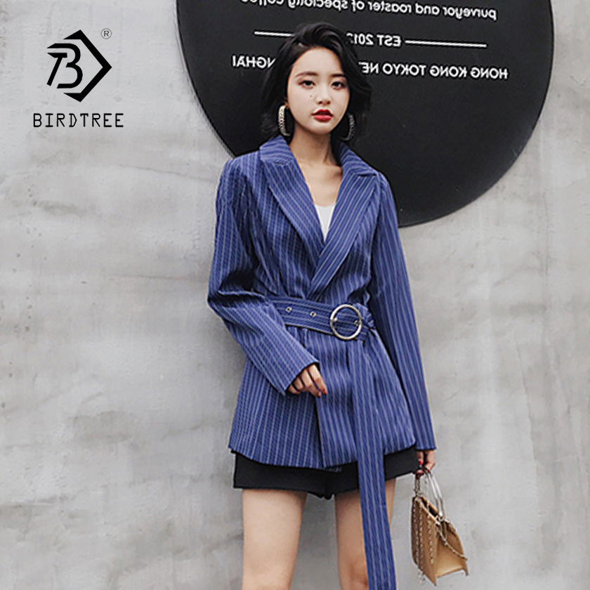 Womens Fashion Casual Striped Long Sleeve Hidden Breasted Blazers With Sashes 2018 New Arrival Elegant Tops Hot Sale C85012FD
