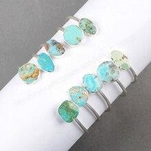 BOROSA 5Pcs/lot 100% Natural Blue Stone Wholesale Fashion Silver Bangle for Women Natural Druzy Crystal Stone Bracelets S0235