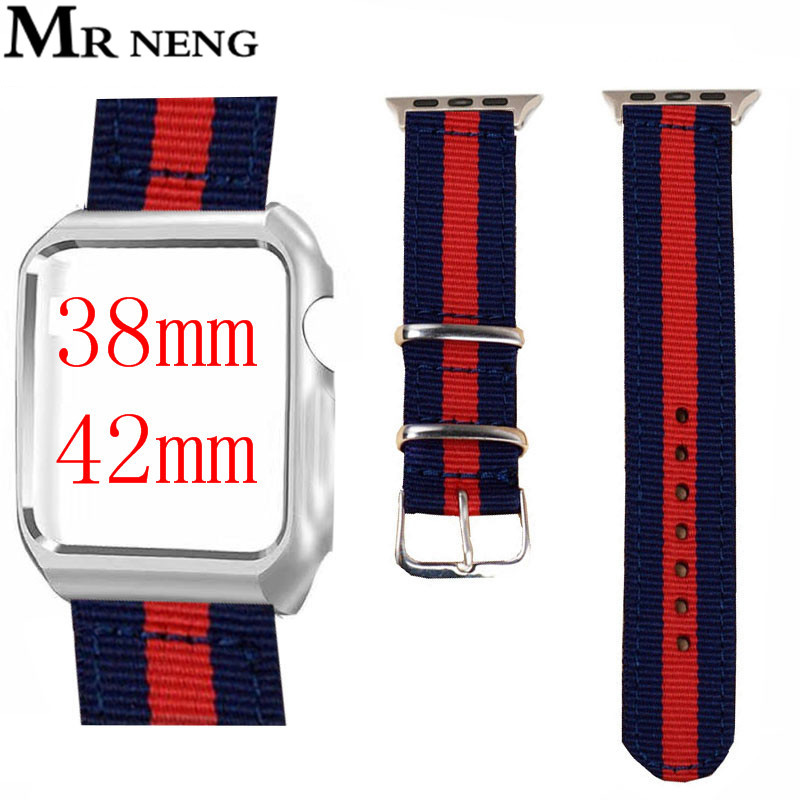 Canvas Nylon Watchband + New Adapters for iWatch Apple Watch 38mm 42mm Series 1 2 3 NATO Band Steel Buckle Strap Wrist Belt nato nylon watchbands for apple watch band 42mm 38mm iwatch strap series 1