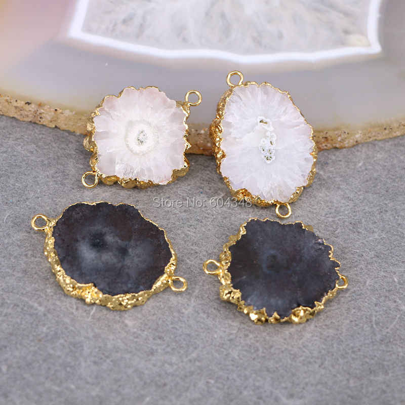 drusy quartz gemstone gold plated jewelry pendants 26pcs Black geode quartz stone pendant beads