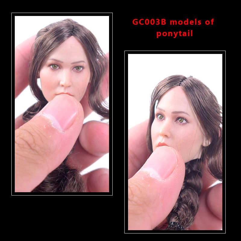 """Cabeza a escala 1/6 de pelo de cola de caballo de GC003B esculpir la belleza Sexy euroamericana de la figura de acción de 12 """"muñeca de la figura de acción"""
