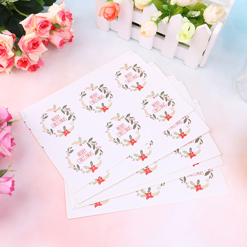 30pcs Merry Christmas English Words DIY Scrapbooking Christmas Gift Kraft Sticker Cookie/Cake Labels Stickers Sweets Party Seal