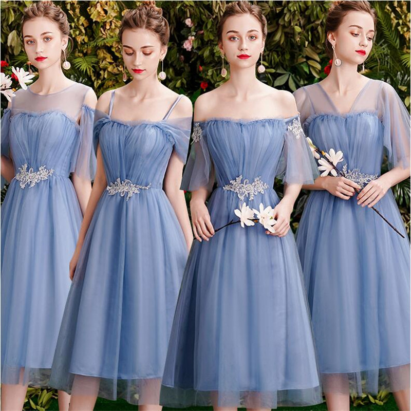 New Bridesmaid Dresses Dusty Blue Tea Length Summer Fall Formal Graduation Prom Party Gown Gift for Girlfriend Robe Demoiselleur