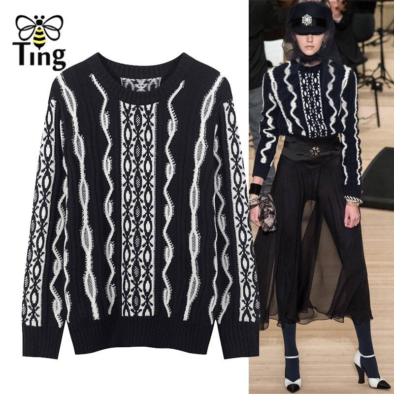 Tingfly di Alta qualità del progettista della Pista maglione 2018 delle donne di autunno inverno manica lunga caldo pullover maglione pullover Nuovo