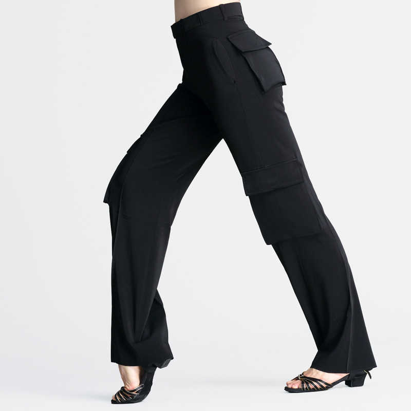 מקצועי לטיני מכנסיים עם כיס נשים/גברים שחור רחב רגל לטיני ריקוד מכנסיים בנים סלוניים בפועל ללבוש