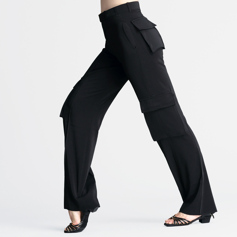 Professional Latin Trousers With Pocket Women/Men Black Wide Leg Dance Pants Boys Ballroom Practice Wear
