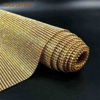 Hot Fix 45*120cm Fashion Gold Color Metal Aluminum Rhinestone Sheet Pointback Rhinestone Mesh Clothes Shoes Decoration