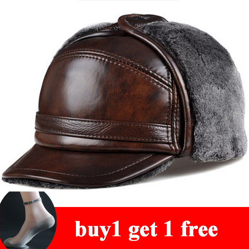 RY0201 Male Winter Warm Ear Protection Bomber Hat Man Genuine Leather Faux Fur Inside Black/Brown Ultra Large Size 55-63cm Caps(China)