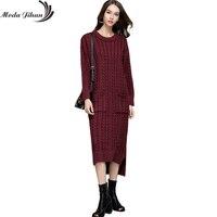 Moda Jihan Women S Knitted Long Dresses Fall Winter Casual O Neck Front Short Back Long