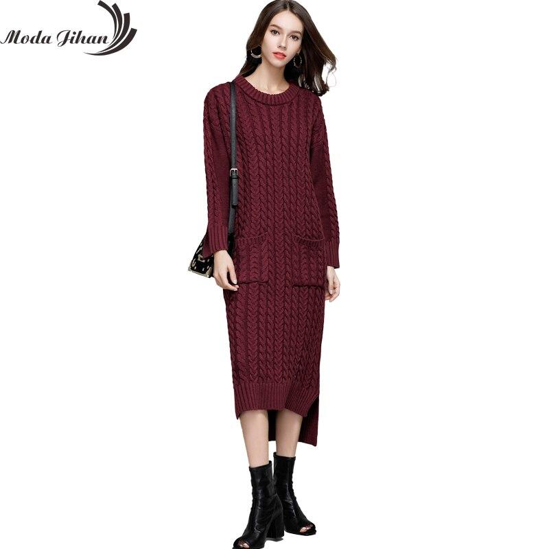 Moda Jihan Women's Knitted Long Dresses Fall Winter Casual O-Neck Front Short Back Long Full Sleeve Loose Sweater Dresses Thick frank buytendijk dealing with dilemmas where business analytics fall short