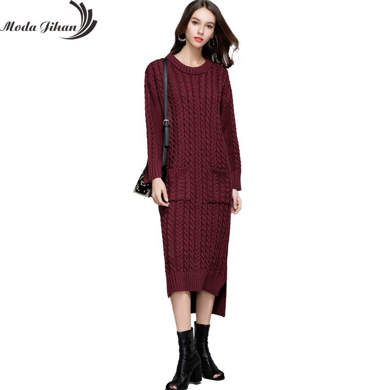 Moda Jihan Womens Knitted Long Dresses Fall Winter Casual O-Neck Front Short Back Long Full Sleeve Loose Sweater Dresses Thick