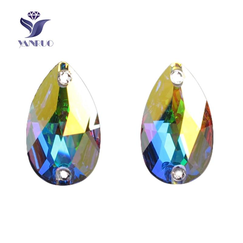5f1ca42277 YANRUO 3230 Drop Crystal AB Rhinestone Sew-On Rhinestones Crystals and  Stones Sewing Glass Rhinestones Stones for Clothes