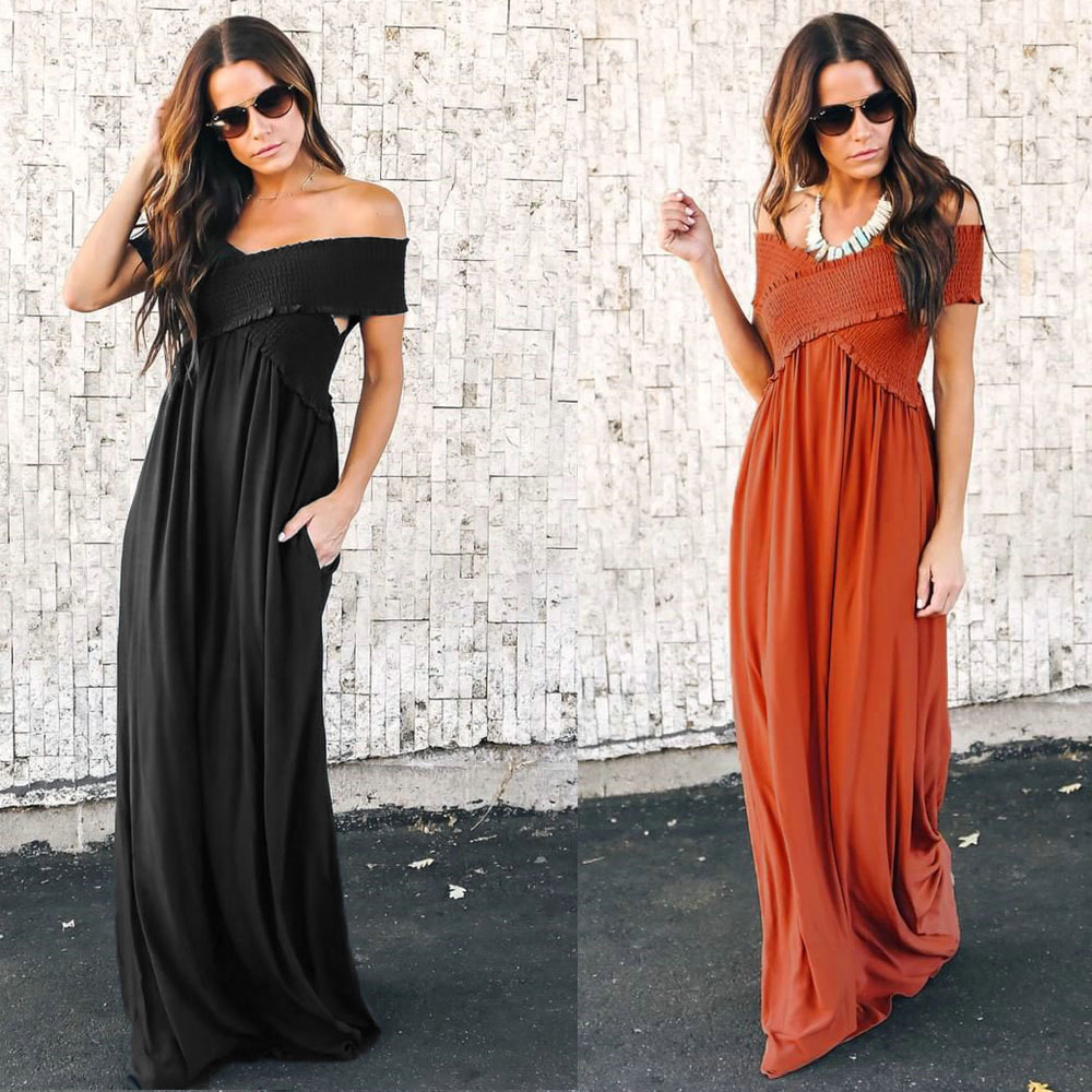 Women Sexy Long Dress Fit and Flare Off The Shoulder Strapless High Waist Short Sleeve Solid Ladies Clothing Vestidos 2018 /-