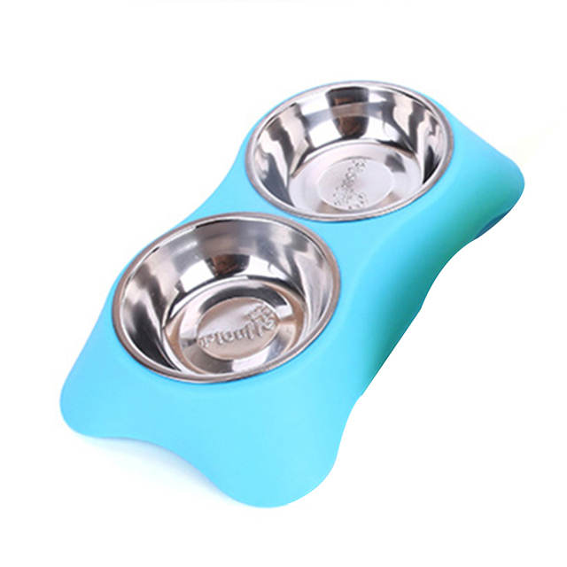 CAWAYI KENNEL Stainless Steel Double Pet Bowls for Dog Puppy Cats Food Water Feeder Pets Supplies Feeding Dishes Dogs Bowl D1202 2