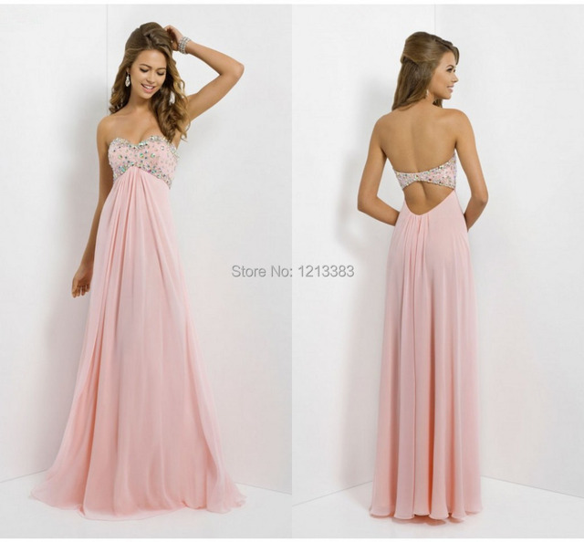 New Couture Long Chiffon Pink Prom Dresses Beaded Strapless Cheap