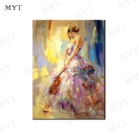 MYT Free Shipping Hand Made Oil Painting On Canvas Women Take The Violin Oil Painting Abstract Modern Canvas Wall Art Pictures