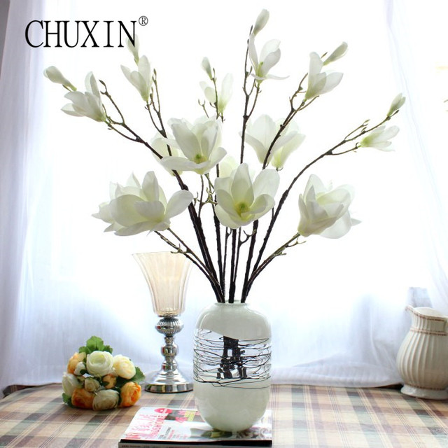 Height quality silk magnolia flower artificial decorative wedding height quality silk magnolia flower artificial decorative wedding flower bouquet simple big size fake orchid for mightylinksfo