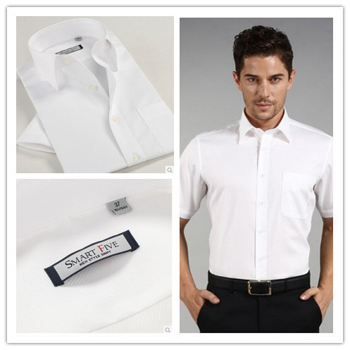 New Summer Men's 100% cotton Short Sleeve Slim Fit  Formal White Shirt Big Size XS-xxxl 4xl 5xl 6xl
