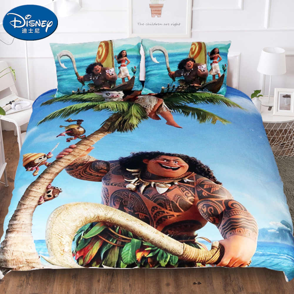 Disney 3pcs Moana Maui Bedding Set Her Side His Side Duvet Cover Pillow Case 3d Couple Kid Boy Teen Girl Bed Linens Twin Full Bedding Sets Aliexpress