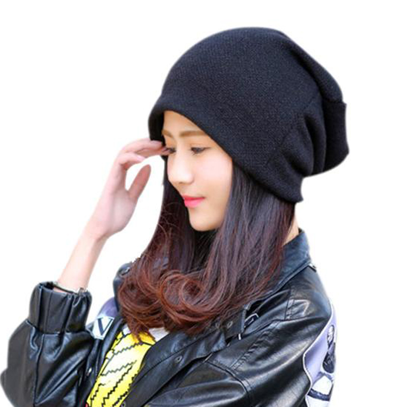 57aef71b449 2016 Hot Selling Women Autumn Winter Hats Fashion Knitting Slouch Solid Beanie  Cap Male And Female Hip Hop Hat 3 Colors Touca-in Skullies   Beanies from  ...