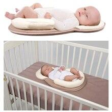 Хлопковая подушка с памятью для сна для новорожденных, удобная, предотвращающая плоскую форму головы, подушка против скатывания, портативный матрас для детской кровати