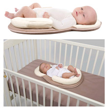 Cotton Baby Sleep Positioner Pillow Newborn Comfortable Prevent Flat Head Shape Anti Roll Pad Pillow Portable Baby Bed Mattress(China)