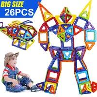 26PCS Regular/Big Size Magnetic Designer Building Construction Toys Set Magnet Educational Toys for Children