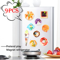 9PCS Pretend Play Simulation Food Kitchen Toys Sweet Food Children Cooking Toys 3D Refrigerator Magnets Stickers Ice Cream Cake