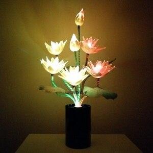 Image 5 - สไตล์ใหม่ 7 หัว LED ดอกไม้ไฟ Lotus พระพุทธรูปแสงโคมไฟสำหรับโคมไฟแปลกศิลปะ Optical ดอกไม้