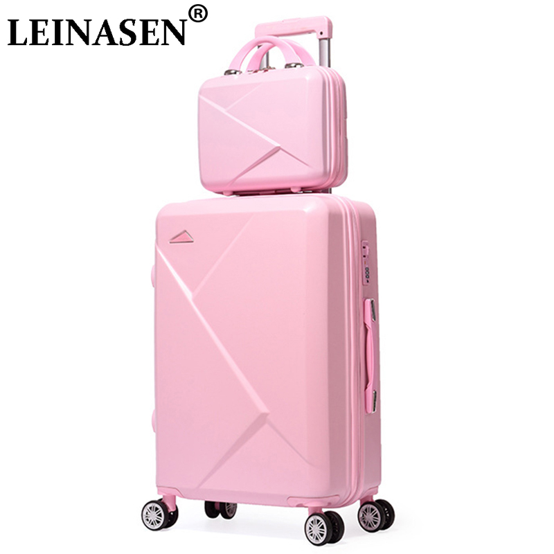 Rolling Luggage Luggage & Bags 2pcs/set 14inch Cosmetic Bag 20/22/24/28 Inches Girl Students Trolley Case Travel Spinner Luggage Rolling Suitcase Boarding Box Clear And Distinctive