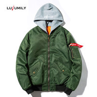 Lusumily Cotton Inside Army Green Jacket Women Streetwear military Coat Female Hoodie Solid Hip Hop Loose Tops Bomber Jackets