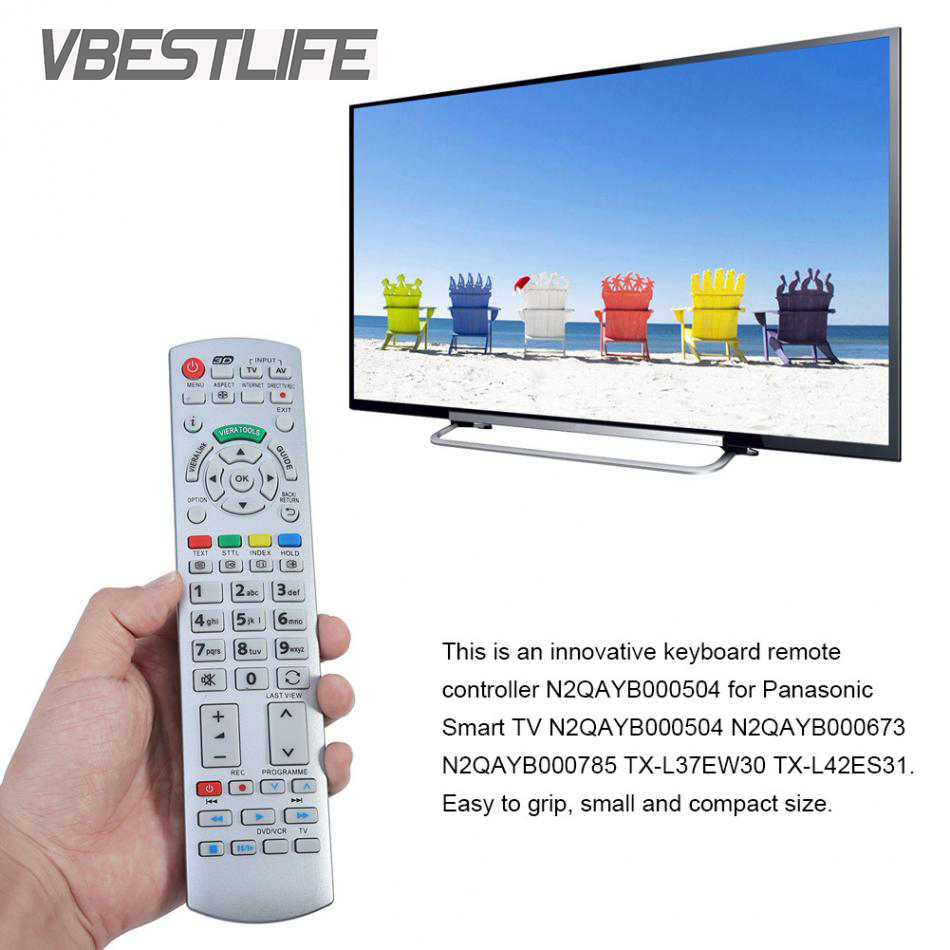 VBESTLIFE Remote Control Universal for Panasonic N2QAYB000504 N2QAYB000673 N2QAYB000785 TX-L37EW30 TX-L42ES31 Smart TV Remote
