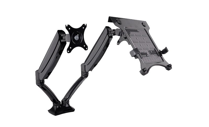 Desktop Full Motion Dual Monitor Arm Mount Monitor Holder Stand for 10~27 Monitor and 10~15.6 Laptop; Max Suppprt 5KG