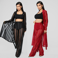 2018 Autumn Winter Outfits Perspective Lace 3 Piece Set Women X Long Cardigan + Crop Top + Red Lace Pant Set Three Piece Outfits