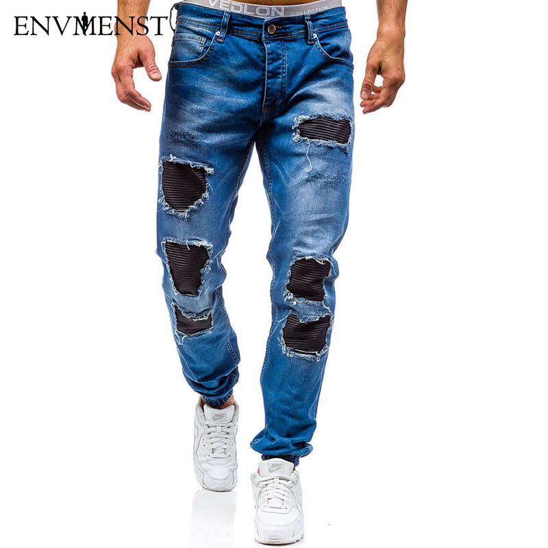 Envmenst 2017 Fashion Men Slim Zipper Denim Trousers Men Casual Cotton Hole Patchwork Designer Jeans Ankle Elastic envmenst 2017 male floral bottom blue hole ankle length jeans men s jeans casual zipper straight denim trousers size 28 40