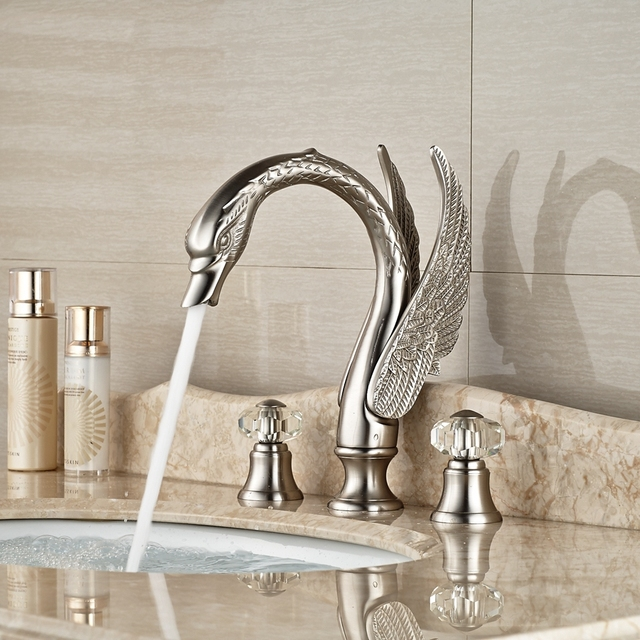 Wholesale And Retail Promotion Crystal Handles Widespread Brushed Nickel  Bathroom Faucet Vanity Sink Mixer Tap