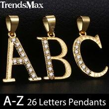Trendsmax Cubic Zirconia CZ A-Z 26 Initial Letter Pendant Ne