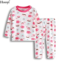 Hooyi/комплекты одежды розового цвета для маленьких девочек детские пижамы, комплект одежды футболка с принтом с чашечками+ брюки, костюм одежда для сна для девочек, хлопок